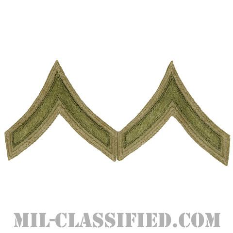一等兵(Private First Class (PFC))[ツイル生地刺繍タイプ/カーキ/カットエッジ/階級章(1942-1948)/パッチ/ペア2枚1組]の画像