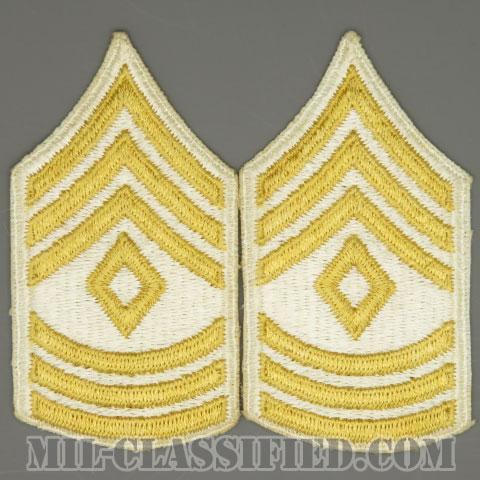 先任曹長(First Sergeant (1SG))[カラー(ホワイト)/女性用/カットエッジ/階級章(1959-)/パッチ/ペア2枚1組]の画像