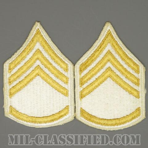 二等軍曹(Staff Sergeant (SSG))[カラー(ホワイト)/女性用/カットエッジ/階級章(1959-)/パッチ/ペア2枚1組]の画像