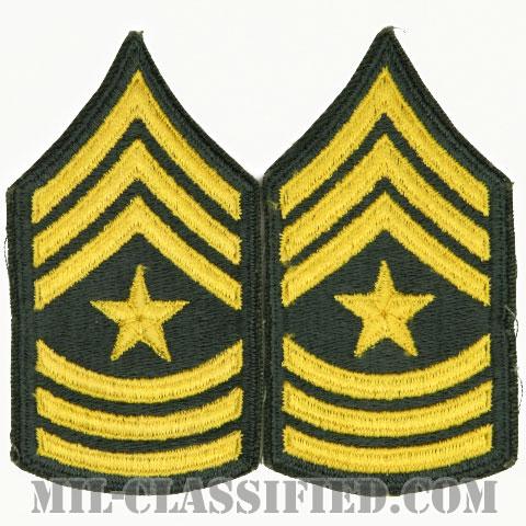 上級曹長(Sergeant Major (SGM))[カラー/女性用/カットエッジ/階級章(1959-)/パッチ/ペア2枚1組]の画像
