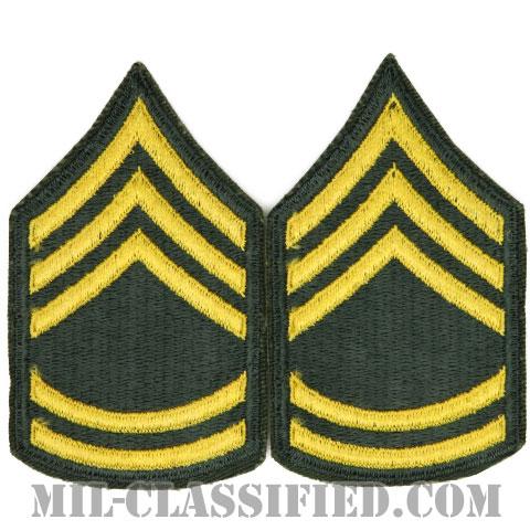 一等軍曹(Sergeant First Class (SFC))[カラー/女性用/カットエッジ/階級章(1959-)/パッチ/ペア2枚1組]の画像
