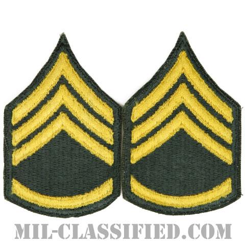 二等軍曹(Staff Sergeant (SSG))[カラー/女性用/カットエッジ/階級章(1959-)/パッチ/ペア2枚1組]の画像