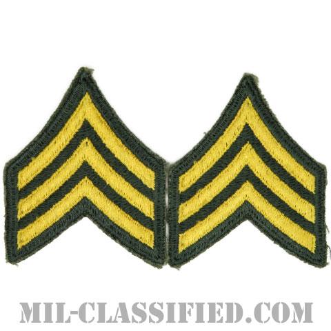軍曹(Sergeant (SGT))[カラー/女性用/カットエッジ/階級章(1959-)/パッチ/ペア2枚1組]の画像
