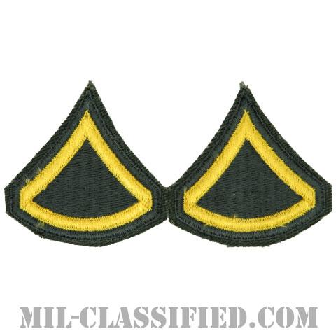 上等兵(Private First Class (PFC))[カラー/女性用/カットエッジ/階級章(1968-)/パッチ/ペア2枚1組]の画像