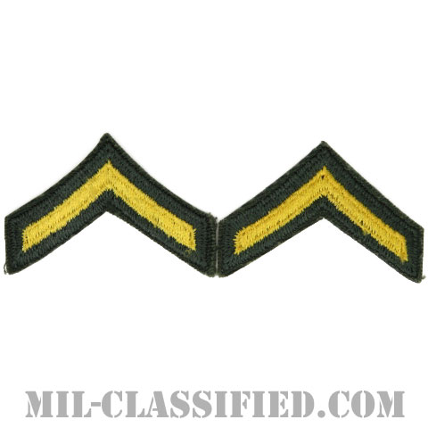 一等兵(Private Second Class (PV2))[カラー/女性用/カットエッジ/階級章(1959-)/パッチ/ペア2枚1組]の画像
