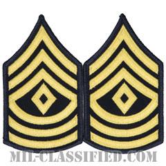 先任曹長(First Sergeant (1SG))[カラー(ブルー)/階級章(女性用)/1996-/パッチ/ペア(2枚1組)]の画像