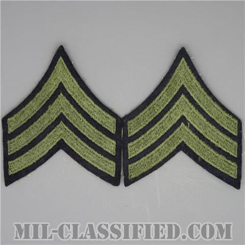 軍曹(Sergeant (SGT))[ウール・フェルト生地刺繍タイプ/階級章(1942-1948)/パッチ/ペア(2枚1組)/中古1点物]の画像