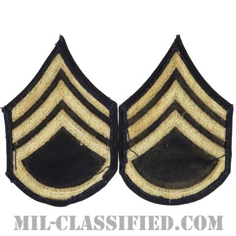 二等軍曹(Staff Sergeant (SSG))[ツイル生地刺繍タイプ/階級章(1942-1948)/パッチ/ペア(2枚1組)/中古1点物]
