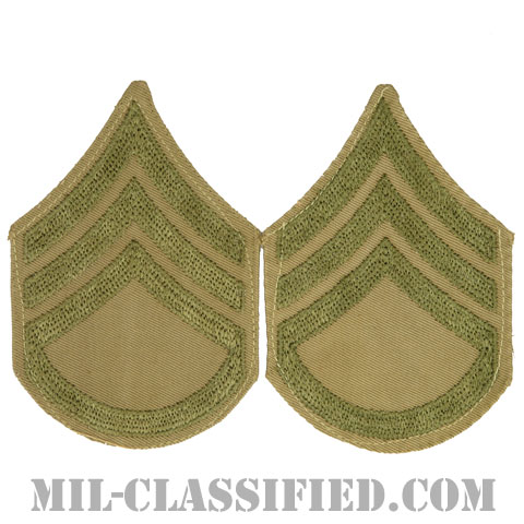 二等軍曹(Staff Sergeant (SSG))[ツイル生地刺繍タイプ/カーキ/階級章(1920-1942)/パッチ/ペア(2枚1組)/中古1点物]の画像