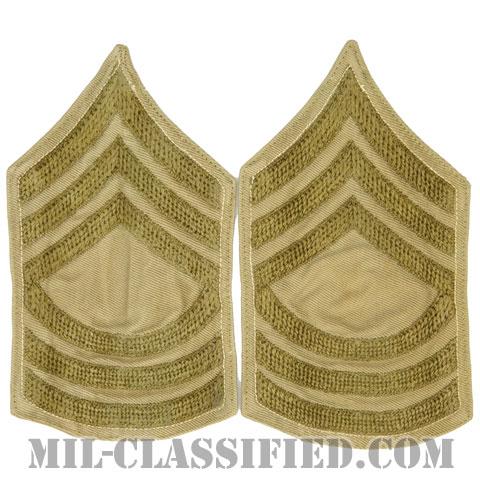 曹長(Master Sergeant (MSG))[ツイル生地刺繍タイプ/カーキ/階級章(1920-1942)/パッチ/ペア(2枚1組)/中古1点物]の画像