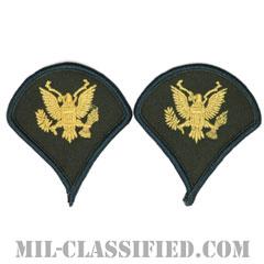 特技兵(Specialist (SPC))[カラー(グリーン)/階級章(女性用)/1996-/パッチ/ペア(2枚1組)]の画像