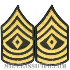 先任曹長(First Sergeant (1SG))[カラー(グリーン)/階級章(女性用)/1996-/パッチ/ペア(2枚1組)]の画像