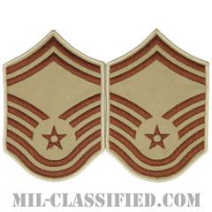 上級曹長(Senior Master Sergeant)[デザート/メロウエッジ/空軍階級章(1991-)/Large(男性用)/パッチ/ペア(2枚1組)]の画像