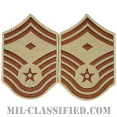 先任上級曹長(First Sergeant (E-8))[デザート/メロウエッジ/空軍階級章(1991-)/Large(男性用)/パッチ/ペア(2枚1組)]の画像