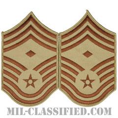 先任最上級曹長(First Sergeant (E-9))[デザート/メロウエッジ/空軍階級章(1991-)/Large(男性用)/パッチ/ペア(2枚1組)]の画像