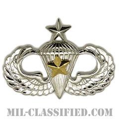 戦闘空挺章 (シニア) 降下5回(Combat Parachutist Badge, Senior, Five Jump)[カラー/鏡面仕上げ/バッジ]の画像