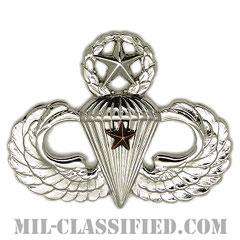 戦闘空挺章 (マスター) 降下1回(Combat Parachutist Badge, Master, One Jump)[カラー/鏡面仕上げ/バッジ]の画像