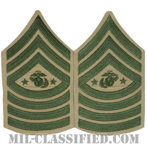 海兵隊最先任上級曹長(Sergeant Major of the Marine Corps (SgtMajMC))[グリーン・カーキ/海兵隊階級章/Large(男性用)/パッチ/ペア(2枚1組)]の画像