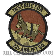 第22空輸隊 (インストラクター:指導者)(22nd Airlift Squadron, Instructor)[OCP/メロウエッジ/ベルクロ付パッチ]の画像