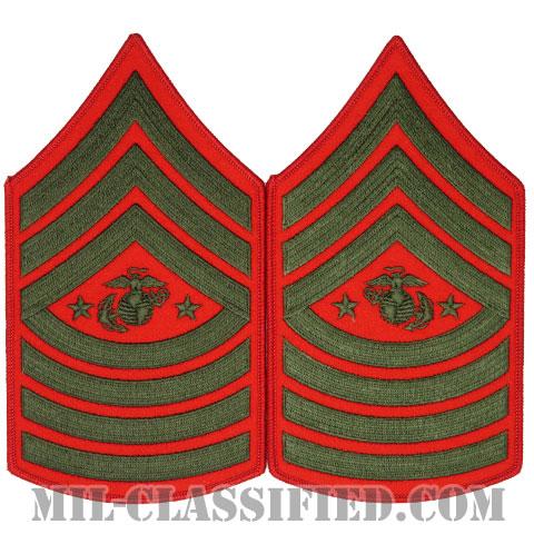 海兵隊最先任上級曹長(Sergeant Major of the Marine Corps (SgtMajMC))[グリーン・レッド/海兵隊階級章/Large(男性用)/パッチ/ペア(2枚1組)]の画像