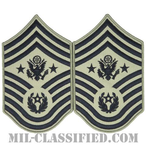 空軍最先任上級曹長(Chief Master Sergeant of the Air Force (CMSAF))[ABU/メロウエッジ/空軍階級章/Large(男性用)/パッチ/ペア(2枚1組)]の画像