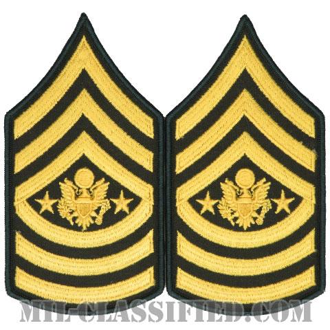 陸軍最先任上級曹長(Sergeant Major of the Army (SMA))[カラー(グリーン)/メロウエッジ/階級章(男性用)/パッチ/ペア(2枚1組)]の画像