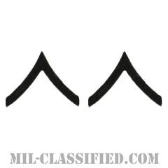 一等兵(Private Second Class (PV2))[サブデュード(ブラックメタル)/階級章/バッジ/ペア(2個1組)]の画像