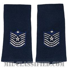 先任曹長(First Sergeant (E-7))[空軍ブルー/ショルダー階級章(-1991)/ロングサイズ肩章/ペア(2枚1組)]の画像