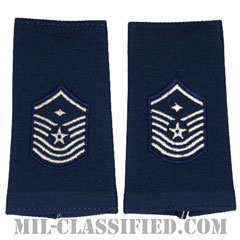 先任上級曹長(First Sergeant (E-8))[空軍ブルー/ショルダー階級章(-1991)/ロングサイズ肩章/ペア(2枚1組)]の画像
