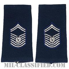 空軍最先任上級曹長(Chief Master Sergeant of the Air Force (CMSAF))[空軍ブルー/ショルダー階級章(-1991)/ロングサイズ肩章/ペア(2枚1組)]の画像