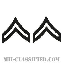 伍長(Corporal (CPL))[サブデュード(ブラックメタル)/階級章/バッジ/ペア(2個1組)]の画像