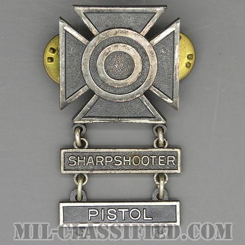 射撃技術章 (シャープシューター)(Marksmanship, Sharpshooter)[カラー/1960s/燻し銀(銀張り・Silver Filled)/バッジ/中古1点物(バー2個付)]の画像