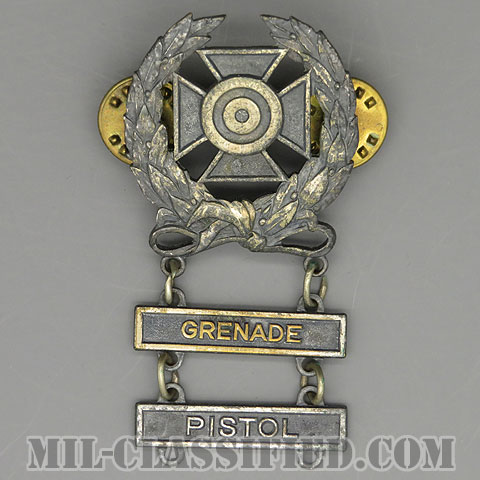 射撃技術章 (エキスパート)(Marksmanship Badge, Expert)[カラー/1960s/燻し銀(銀張り・Silver Filled)/バッジ/中古1点物(バー2個付)]の画像