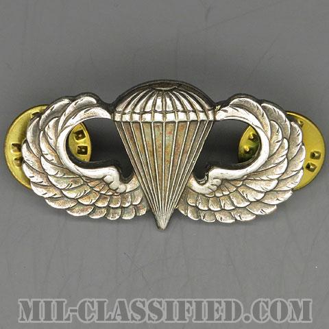 空挺章 (ベーシック)(Parachutist Badge, Basic)[カラー/1960s/鏡面仕上げ(銀張り・Silver Filled)/バッジ/中古1点物]の画像