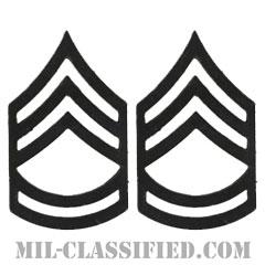一等軍曹(Sergeant First Class (SFC))[サブデュード(ブラックメタル)/階級章/バッジ/ペア(2個1組)]の画像