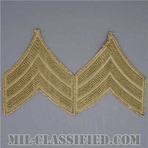 軍曹(Sergeant (SGT))[ツイル生地刺繍タイプ/カーキ/階級章(1920-1942)/パッチ/ペア(2枚1組)/中古1点物]の画像