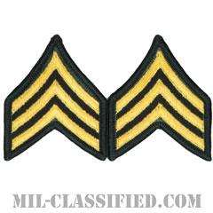 軍曹Sergeant (SGT))[カラー(グリーン)/階級章(女性用)/-1996/パッチ/ペア(2枚1組)]の画像