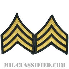 軍曹(Sergeant (SGT))[カラー(グリーン)/階級章(女性用)/1996-/パッチ/ペア(2枚1組)]の画像