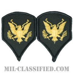 特技兵(Specialist (SPC))[カラー(グリーン)/階級章(女性用)/-1996/パッチ/ペア(2枚1組)]の画像