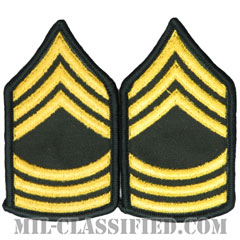曹長(Master Sergeant (MSG))[カラー(グリーン)/階級章(女性用)/-1996/パッチ/ペア(2枚1組)]の画像
