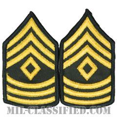 先任曹長(First Sergeant (1SG))[カラー(グリーン)/階級章(女性用)/-1996/パッチ/ペア(2枚1組)]の画像