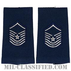 上級曹長(Senior Master Sergeant)[空軍ブルー/ショルダー階級章(-1991)/ロングサイズ肩章/ペア(2枚1組)]の画像