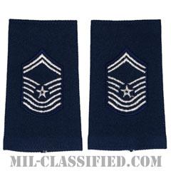 最上級曹長(Chief Master Sergeant)[空軍ブルー/ショルダー階級章(-1991)/ロングサイズ肩章/ペア(2枚1組)]の画像