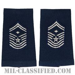 先任最上級曹長(First Sergeant (E-9))[空軍ブルー/ショルダー階級章(-1991)/ロングサイズ肩章/ペア(2枚1組)]の画像