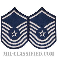 上級曹長(Senior Master Sergeant)[カラー/メロウエッジ/空軍階級章(-1991)/Large(男性用)/パッチ/ペア(2枚1組)]の画像