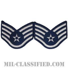 軍曹(Staff Sergeant)[カラー/メロウエッジ/空軍階級章(-1991)/Large(男性用)/パッチ/ペア(2枚1組)]の画像
