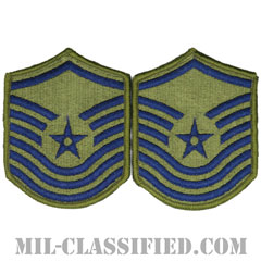 上級曹長(Senior Master Sergeant)[サブデュード/メロウエッジ/空軍階級章(-1991)/Small(女性用)/パッチ/ペア(2枚1組)]の画像