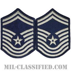 最上級曹長(Chief Master Sergeant)[カラー/メロウエッジ/空軍階級章(-1991)/Small(女性用)/パッチ/ペア(2枚1組)]の画像