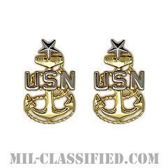 上級上等兵曹(Senior Chief Petty Officer)[カラー/シャツ襟用ミニサイズ/階級章/バッジ/ペア(2個1組)]の画像