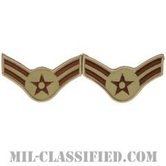 一等空兵(Airman First Class)[デザート/メロウエッジ/空軍階級章(1991-)/Large(男性用)/パッチ/ペア(2枚1組)]の画像